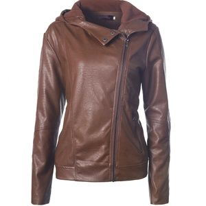 Women's PU Leather Jacket WIth Hat 6403